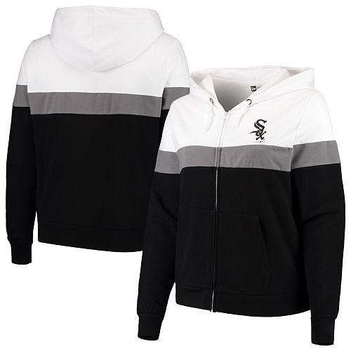 Women's New Era Black/White Chicago White Sox Plus Size Colorblock French Terry Full-Zip Hoodie