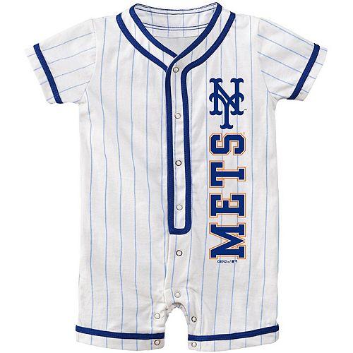 Newborn White New York Mets Game Ready Coverall Romper