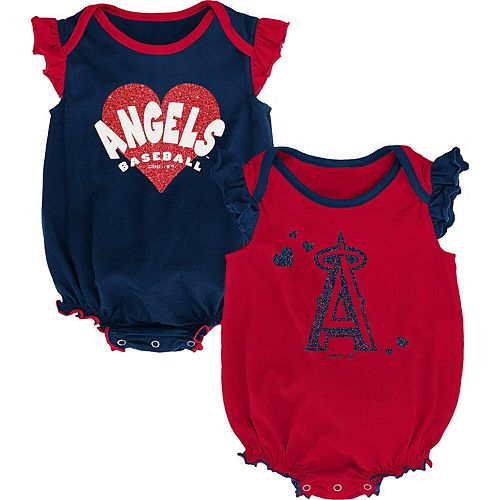 Girls Newborn & Infant Red/Navy Los Angeles Angels Double Trouble Two-Pack Bodysuit Set