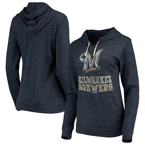 Women's New Era Navy Milwaukee Brewers Jersey Tri-Blend Pullover Hoodie