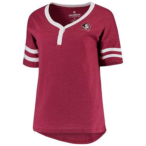 Women's Colosseum Garnet Florida State Seminoles Florence 2-Hit Henley T-Shirt