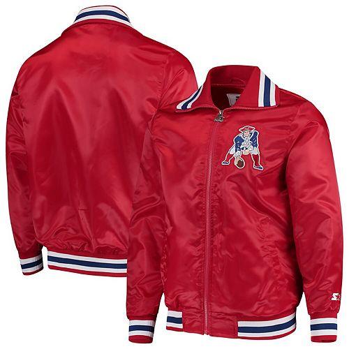 Men's Starter Red New England Patriots Captain Satin Varsity Jacket