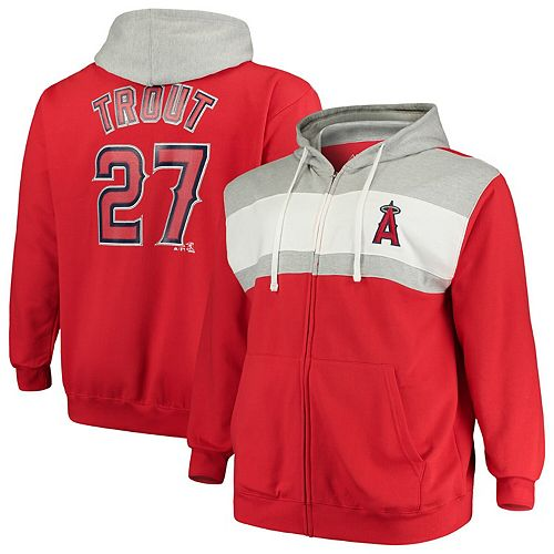 Men's Majestic Mike Trout Red Los Angeles Angels Name & Number Player Pieced Full-Zip Hoodie