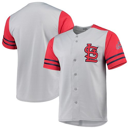 St. Louis Cardinals Stitches Button-Up Jersey - Gray/Red