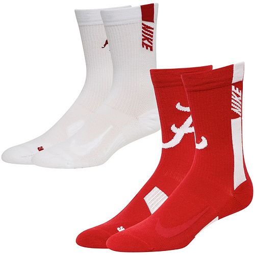 Men's Nike Crimson/White Alabama Crimson Tide Two-Pack Home and Away Multiplier Performance Crew Socks