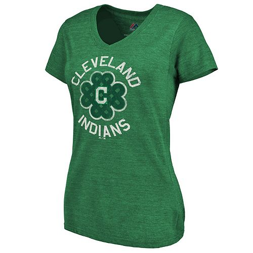 Women's Majestic Kelly Green Cleveland Indians 2019 St. Patrick's Day Luck Tradition V-Neck T-Shirt