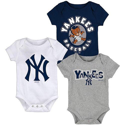 Newborn & Infant Navy/White/Heathered Gray New York Yankees Everyday Fan Three-Pack Bodysuit Set