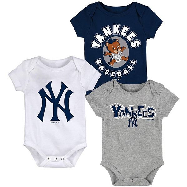 Newborn & Infant Navy/White/Heathered Gray New York Yankees Everyday Fan Three-Pack Bodysuit Set