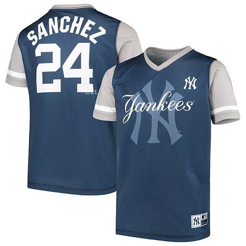 Youth Majestic Gary Sanchez Navy/Gray New York Yankees Play Hard Player V-Neck Jersey T-Shirt