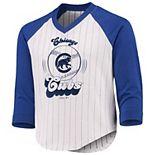 Girls Youth White/Royal Chicago Cubs Tradition Raglan 3/4-Sleeve V-Neck T-Shirt