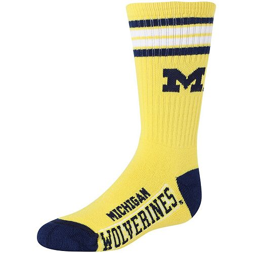 Youth For Bare Feet Michigan Wolverines Reverse 4-Stripe Deuce Crew Socks