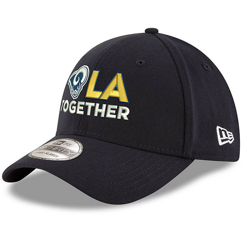 Men's New Era Navy Los Angeles Rams LA Together 39THIRTY Flex Hat. Size: Small/Medium. Blue