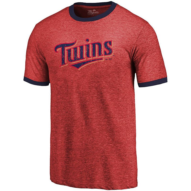 Men's Majestic Threads Red Minnesota Twins Ringer Tri-Blend T-Shirt. Size: Small