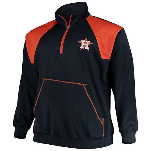 Men's Majestic Navy/Orange Houston Astros Big & Tall Quarter-Zip Two-Tone Pullover Jacket