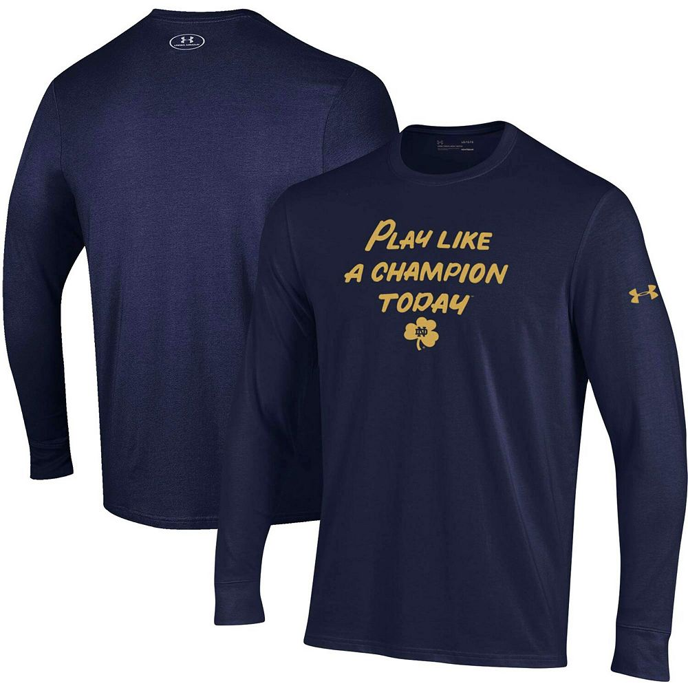 Men's Under Armour Heathered Navy Notre Dame Fighting Irish Play Like A Champion Today Cotton Long Sleeve Performance T-Shirt