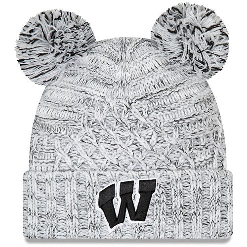 Women's New Era Gray Wisconsin Badgers Cuffed Knit Hat with Dual Poms