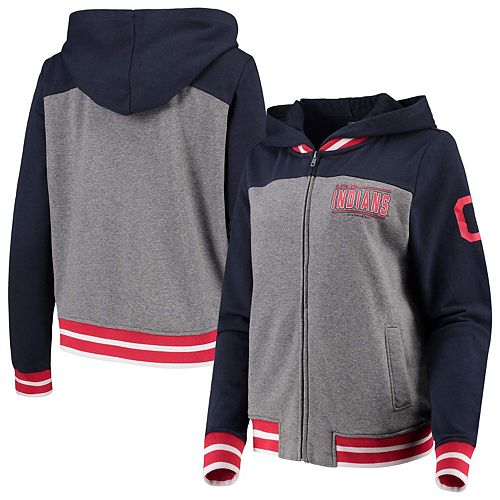 Women's New Era Gray/Navy Cleveland Indians French Terry Full-Zip Hoodie