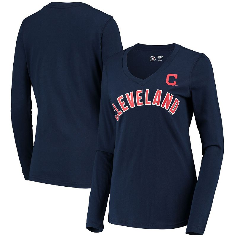 Women's G-III 4Her by Carl Banks Navy Cleveland Indians Post Season Long Sleeve T-Shirt. Size: XS. Blue