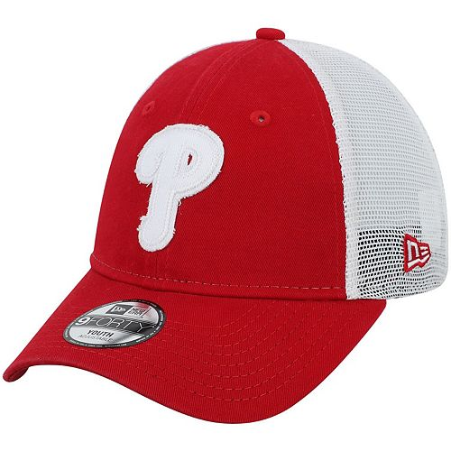 Youth New Era Red Philadelphia Phillies Team Truckered 9FORTY Snapback Hat