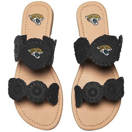 Women's Jacksonville Jaguars Double Strap Whip Stitch Sandals