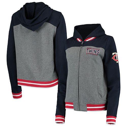 Women's New Era Gray/Navy Minnesota Twins French Terry Full-Zip Hoodie