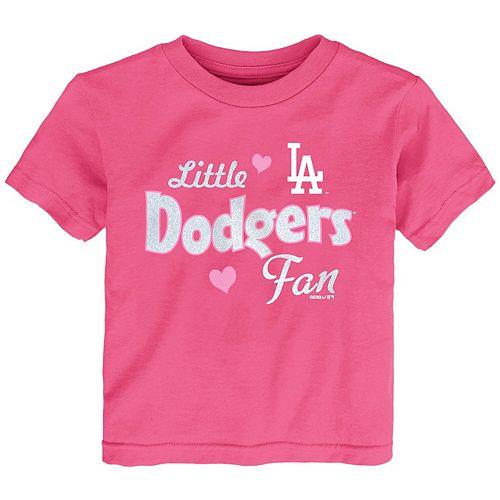 Girls Toddler Pink Los Angeles Dodgers Fan T-Shirt
