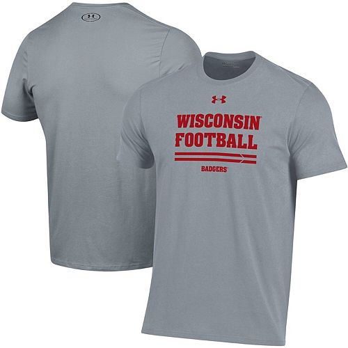 Men's Under Armour Gray Wisconsin Badgers 2019 Football Sideline Performance T-Shirt