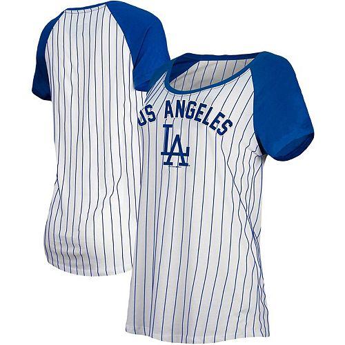 Los Angeles Dodgers New Era Women's Cooperstown Pinstripe Raglan T-Shirt - White/Royal