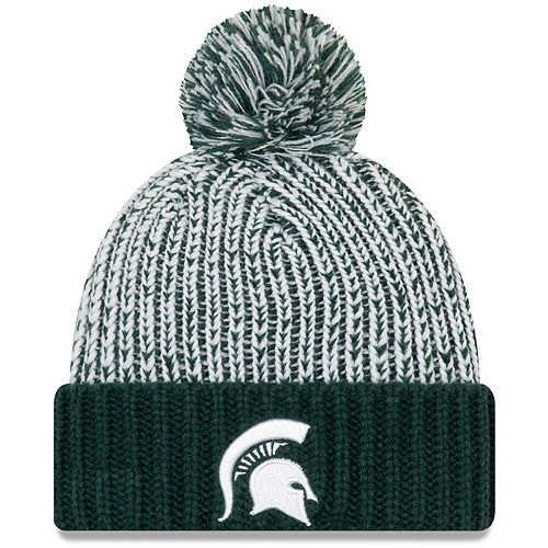 Women's New Era Green Michigan State Spartans Sporty Cuffed Knit Hat with Pom