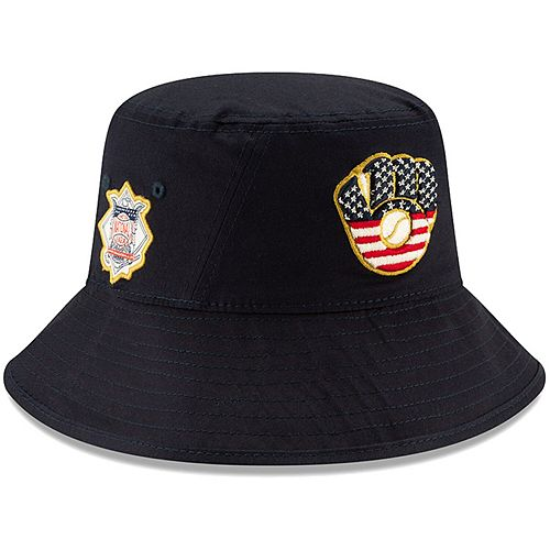 Men's New Era Navy Milwaukee Brewers 2019 Stars & Stripes 4th of July Bucket Hat