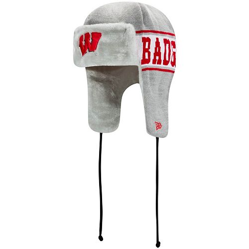 Men's New Era Gray Wisconsin Badgers Basic Trapper Knit Hat