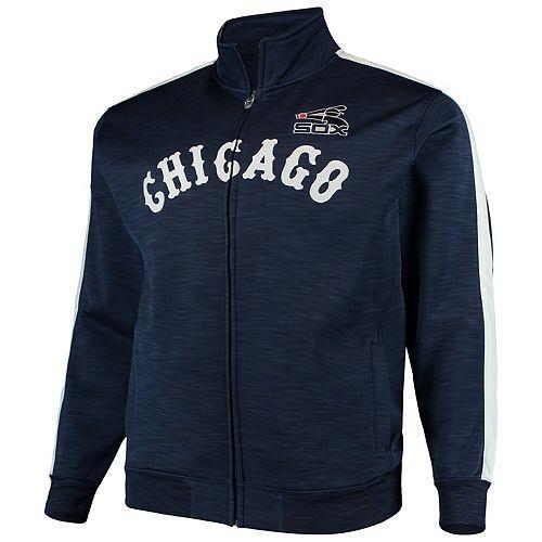 Men's Navy/White Chicago White Sox Big & Tall Streak Fleece Cooperstown Full Zip Jacket