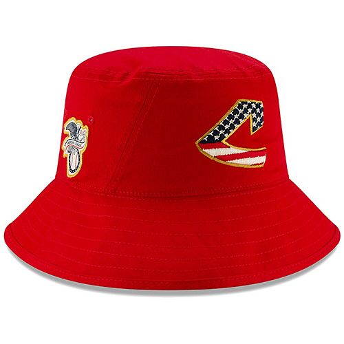 Men's New Era Red Cleveland Indians 2019 Stars & Stripes 4th of July Bucket Hat