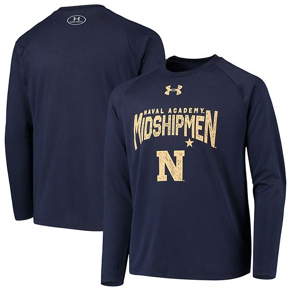 Youth Under Armour Navy Notre Dame Fighting Irish Stretched Stack Tech Raglan Long Sleeve T-Shirt