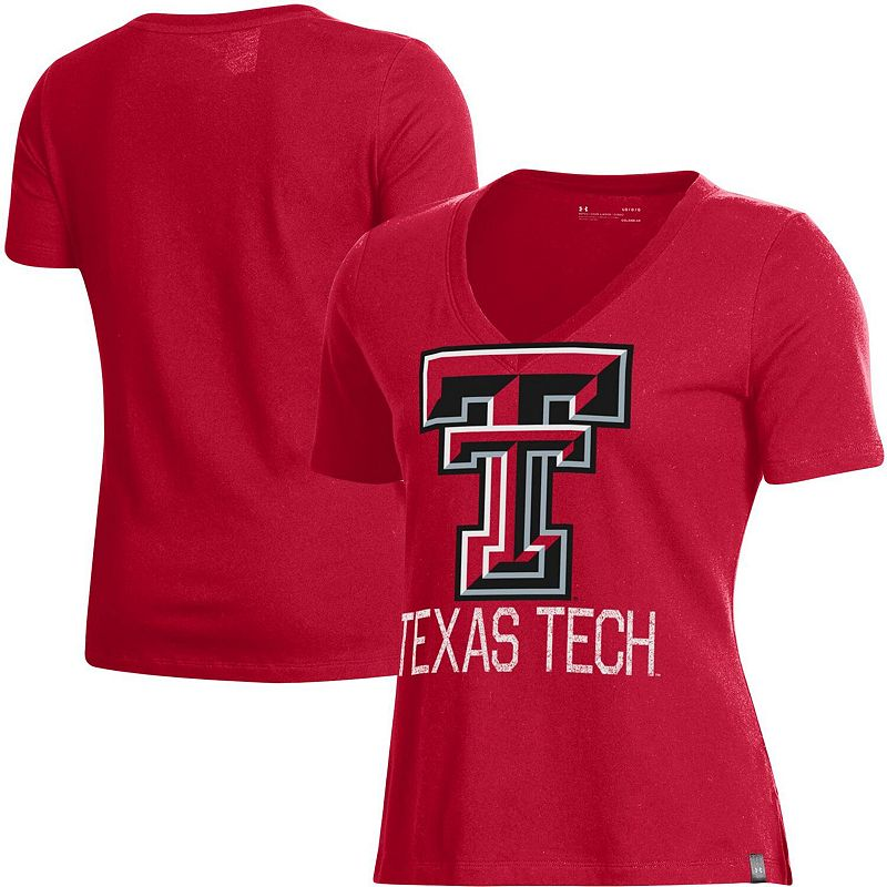 Women's Under Armour Red Texas Tech Red Raiders Logo Performance V-Neck T-Shirt. Size: XS