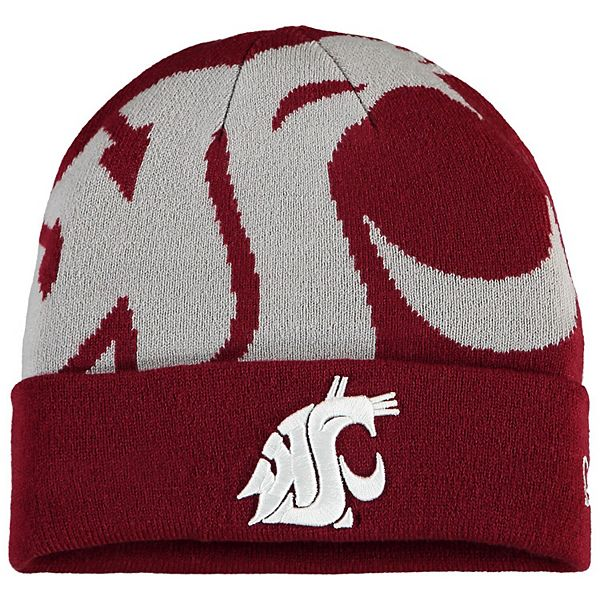 Men's New Era Crimson Washington State Cougars Logo Whiz Cuffed Knit Hat
