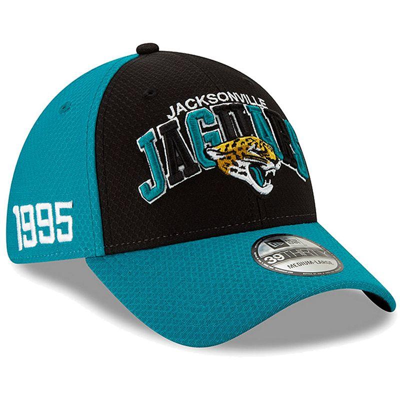 Men's New Era Black/Teal Jacksonville Jaguars 2019 NFL Sideline Home Official 39THIRTY 1990s Flex Hat. Size: Small/Medium