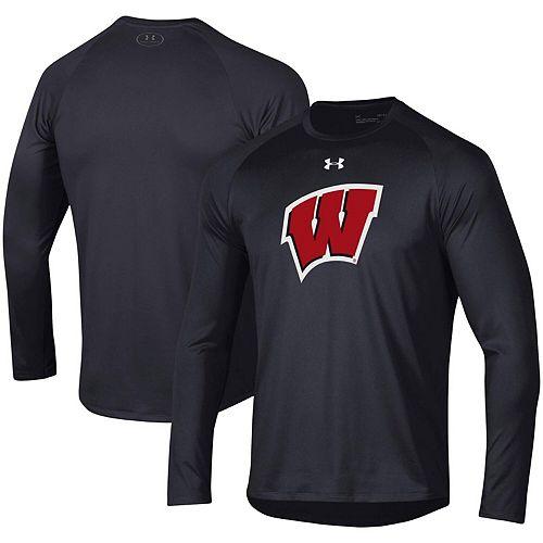 Men's Under Armour Black Wisconsin Badgers Wordmark School Logo Tech 2.0 Performance Raglan Long Sleeve T-Shirt