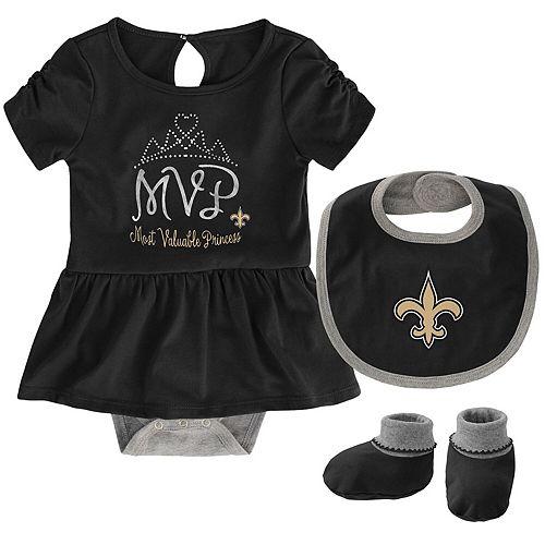 Girls Newborn Black New Orleans Saints MVP Bodysuit, Bib & Booties Set