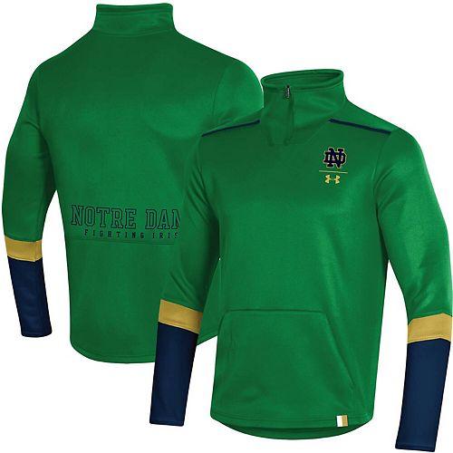 Men's Under Armour Green Notre Dame Fighting Irish Logo Quarter-Zip Jacket