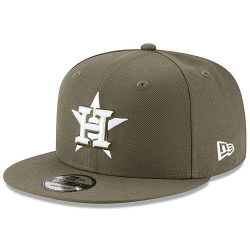 Men's New Era Olive Houston Astros Basic 9FIFTY Adjustable Snapback Hat