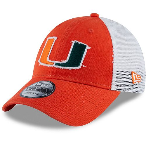 Men's New Era Orange Miami Hurricanes Team 9FORTY Adjustable Snapback Trucker Hat