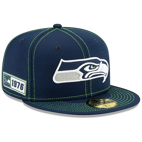 Men's New Era Navy Seattle Seahawks 2019 NFL Sideline Road Official 59FIFTY Fitted Hat