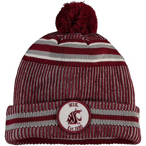 Men's New Era Crimson Washington State Cougars Sideline Home Cuffed Knit Hat