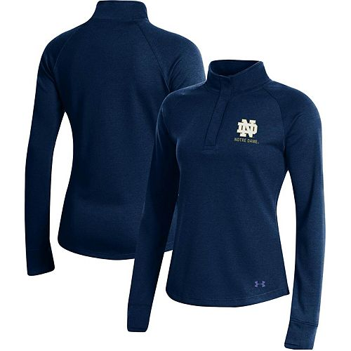 Women's Under Armour Navy Notre Dame Fighting Irish Double-Knit Jersey Quarter-Snap Pullover Jacket
