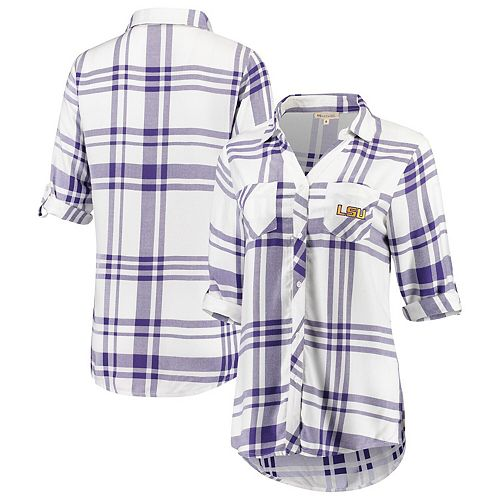 Women's White LSU Tigers Missy Satin Plaid Button-Up 3/4-Sleeve Shirt
