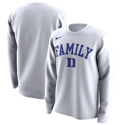Men's Nike White Duke Blue Devils March Madness Family on Court Legend Basketball Performance Long Sleeve T-Shirt