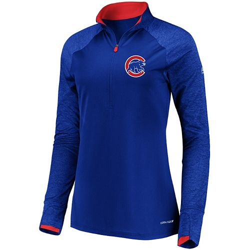Women's Majestic Royal Chicago Cubs Extremely Clear Cool Base Raglan 1/2-Zip Jacket