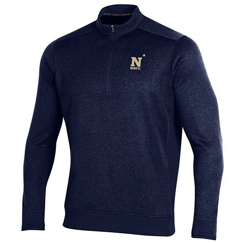 Navy Midshipmen Under Armour Fleece Half-Zip Pullover Performance Jacket - Navy