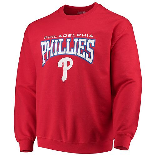 Men's Stitches Red Philadelphia Phillies Pullover Crew Neck Sweatshirt